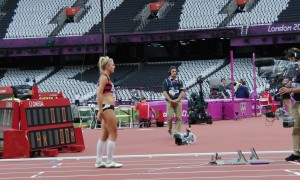 Jess on Olympic Stdium track